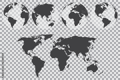 Globe set with world map on a transparent background. Vector illustration