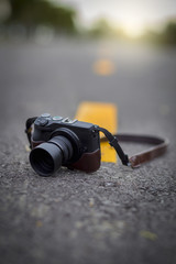 mirrorless camera on the road