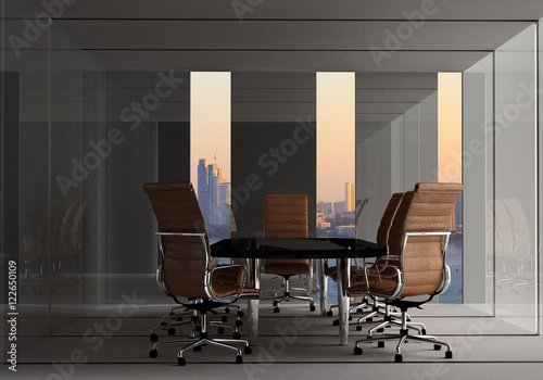 Modern Office Meeting Room With City Background For Business Concept