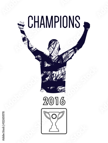 Fotografie, Tablou  Digital vector, abstract winner sportman champion with hands in the air, flat st
