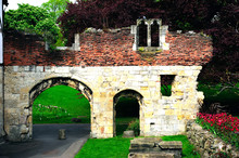 Ruin Of The Wall In The Park Of St. Mary's Abbey In York City, England, UK
