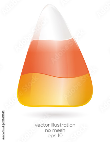 Fotografie, Obraz  Realistic halloween candy corn isolated on white background