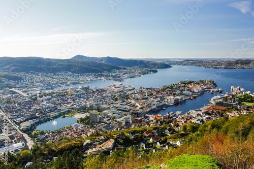 In de dag Rio de Janeiro Bergen city view from Mount Floyen. Norway.