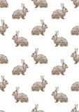 Bezszwowy akwarela wzór z brown królika Easter ilustracją - 122658147