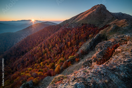 Mountain sunrise, autumn Poster