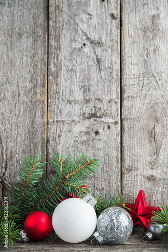 Red Silver And White Xmas Ornaments On Rustic Wood Background Merry Christmas Card