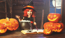 Halloween. Child Girl Witch Pr...
