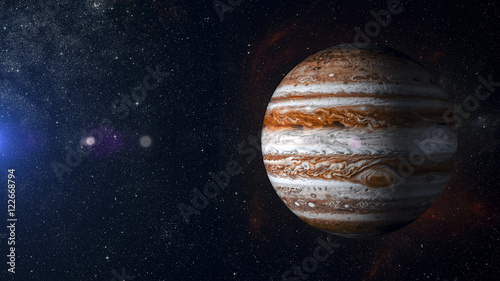 Cuadros en Lienzo Solar system planet Jupiter on nebula background 3d rendering