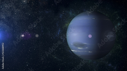 Fotografie, Obraz  Solar system planet Neptune on nebula background 3d rendering.