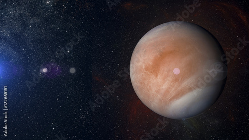 Cuadros en Lienzo Solar system planet Venus on nebula background 3d rendering.