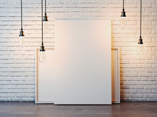 Two White Canvases With Bulbs In Loft Interior. 3d Rendering