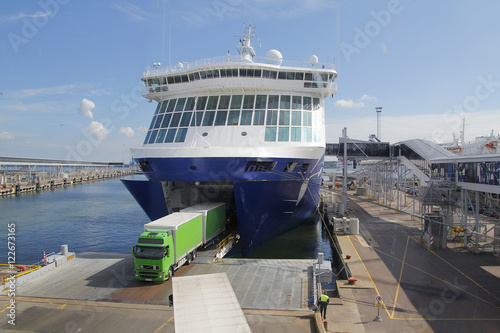 Big ferry at port, for transportation Fototapete