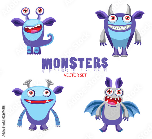 vector set cute halloween monsters mascot four funny cartoon monsters characters halloween monsters for