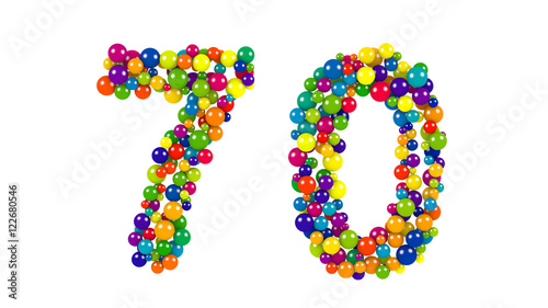 Photographie  Number 70 as colorful balls over white background