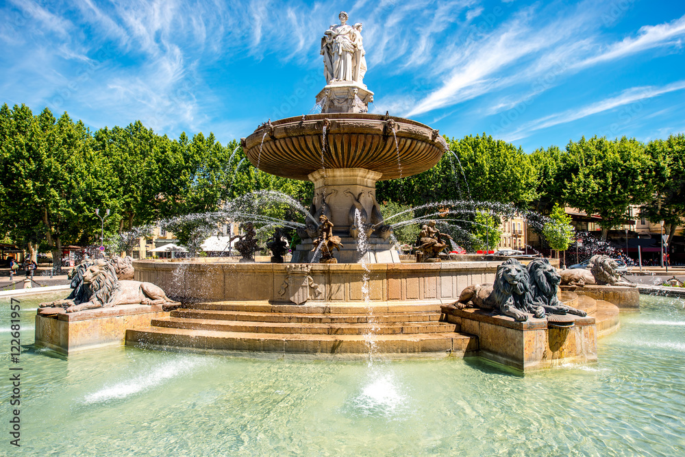 Fototapety, obrazy: The Fontain de la Rotonde with three sculptures of female figures presenting Justice in Aix-en-Provence in France