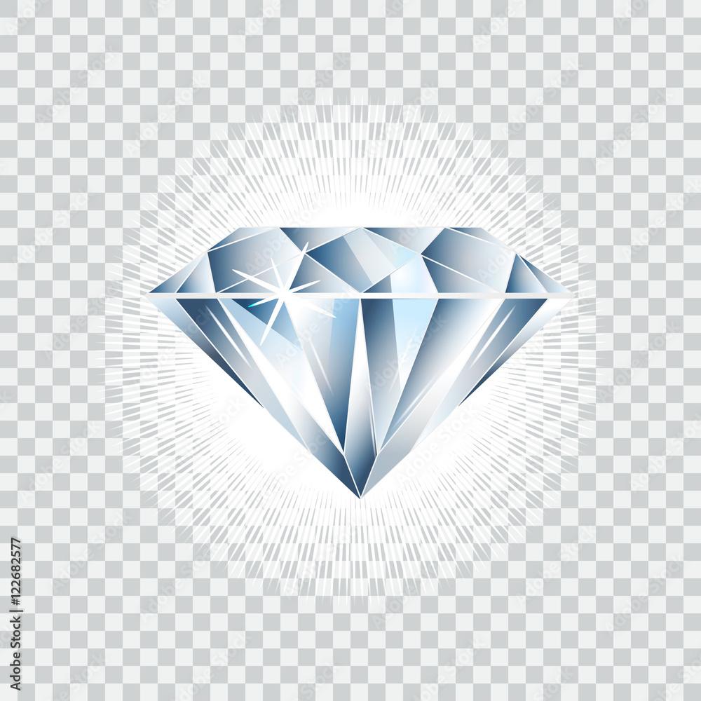 Fototapeta Diamond realistic vector illustration. Brilliant isolated