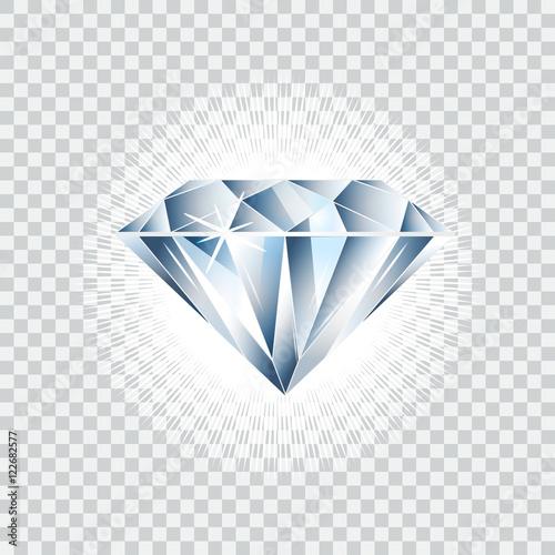 Photo Diamond realistic vector illustration. Brilliant isolated