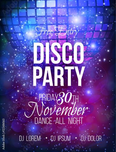 Disco party vector poster template Fototapeta