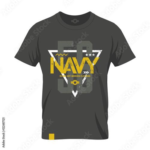 7ed2fb3f Modern american navy grunge effect tee print vector design illustration.  Premium quality superior military shabby number logo concept.