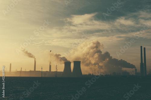 Staande foto Industrial geb. Power stations and industrial chimneys