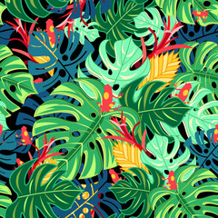 FototapetaBeautiful pattern leaves monstera and frogs