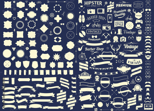 set of vintage styled design hipster icons Vector signs and symbols templates set of phone, gadgets, sunglasses, mustache, ribbons infographcs element and other things