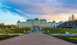 sunset over belvedere palace in vienna