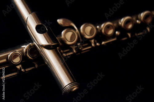 Canvas Print classical flute with dark background