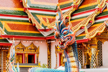 Thai Dragon Or King Of Naga Statue In Phathat Cheung Choom Worav