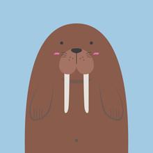 Cute Big Fat Walrus On Light B...