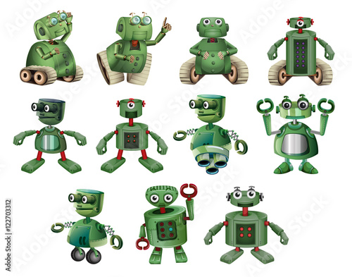 Fototapeta Green robots in different actions