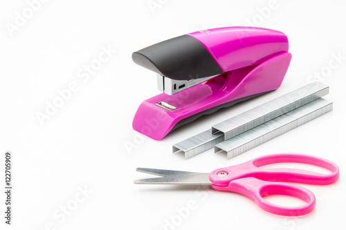 Fotografie, Obraz  Stapler with staples on scissors on a white background.