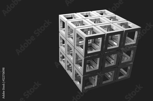 Zdjęcie XXL Abstrakcjonistyczny 3d rendering na czarnym tle