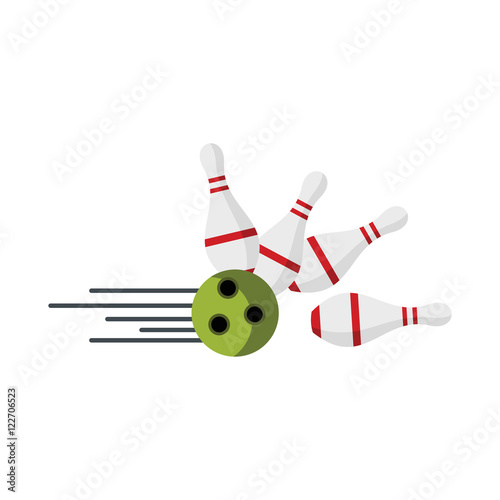 Slika na platnu Skittle and ball for bowling in flat style