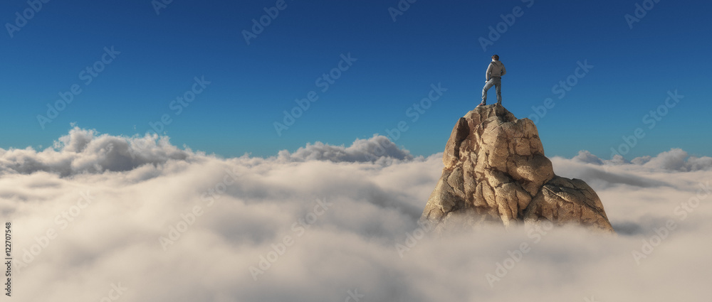 Fototapety, obrazy: A man standing on a stone cliff
