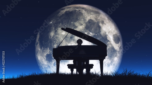 Photo Silhouette of a  man playing the piano
