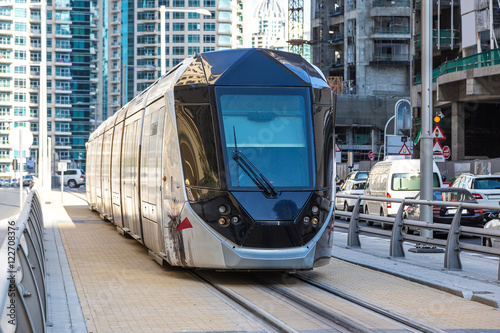 Photo  New modern tram in Dubai