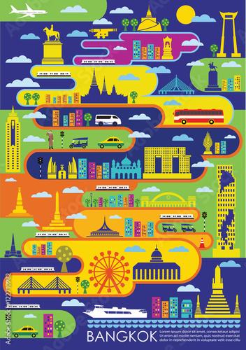 Bangkok Thailand city landmark poster concept Wallpaper Mural