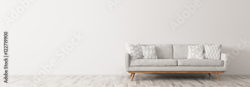 Fotografering Modern interior with white sofa panorama 3d render