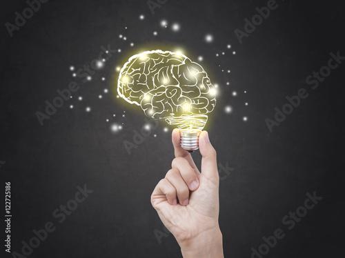 Fototapeta lightbulb brainstorming creative idea abstract icon on business hand. obraz