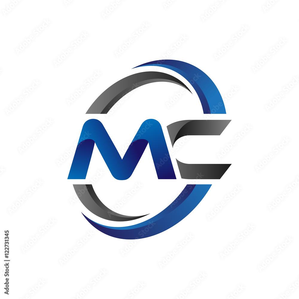 Fototapeta Simple Modern Initial Logo Vector Circle Swoosh mc