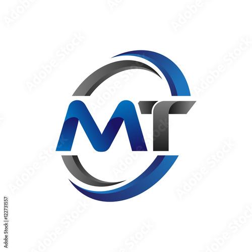Fototapeta Simple Modern Initial Logo Vector Circle Swoosh mt