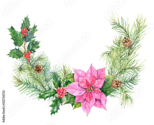christmas wreath bouquet of plants pine branches and cones holly