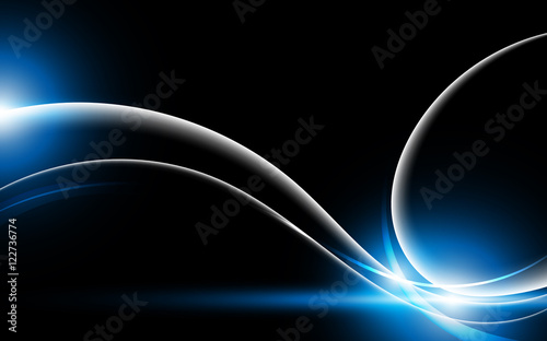 Abstract smooth lighting line on black background tech design