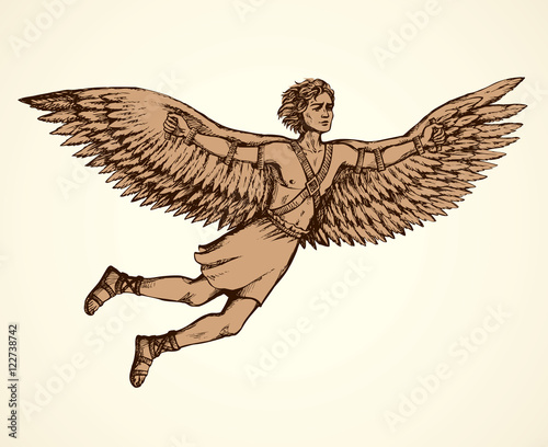 Canvastavla Icarus, character of ancient Greek legend. Vector drawing