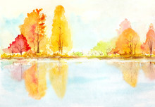 Autumn Trees With Reflection In A Lake. Abstract Watercolor Landscape