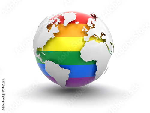 Fotoposter Wereldkaart 3d Globe with Gay Pride color. Image with clipping path