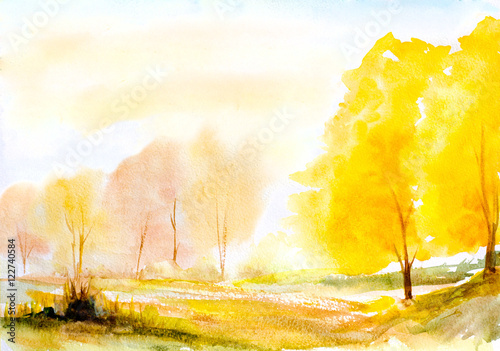 Foto op Aluminium Oranje autumn yellow trees natural landscape hand painted with watercolor strokes