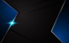 Vector Black Background Metallic Blue Frame Layout Template Design