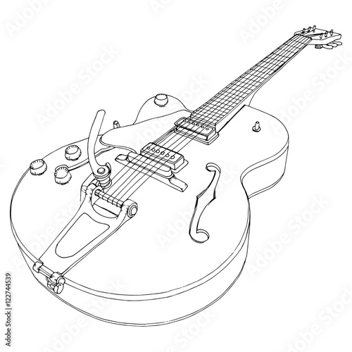 Stylized Guitar Retro Jazz Electric Musical Instrument